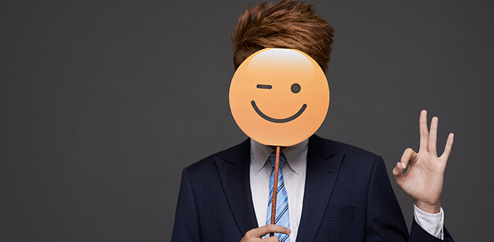 Lawyer with Emoji Mask.