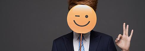 Lawyer with Emoji Mask.